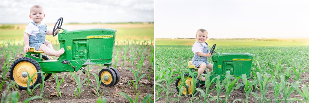 Comparing Warren's spring 2020 and Spring 2021 tractor photo session pictures