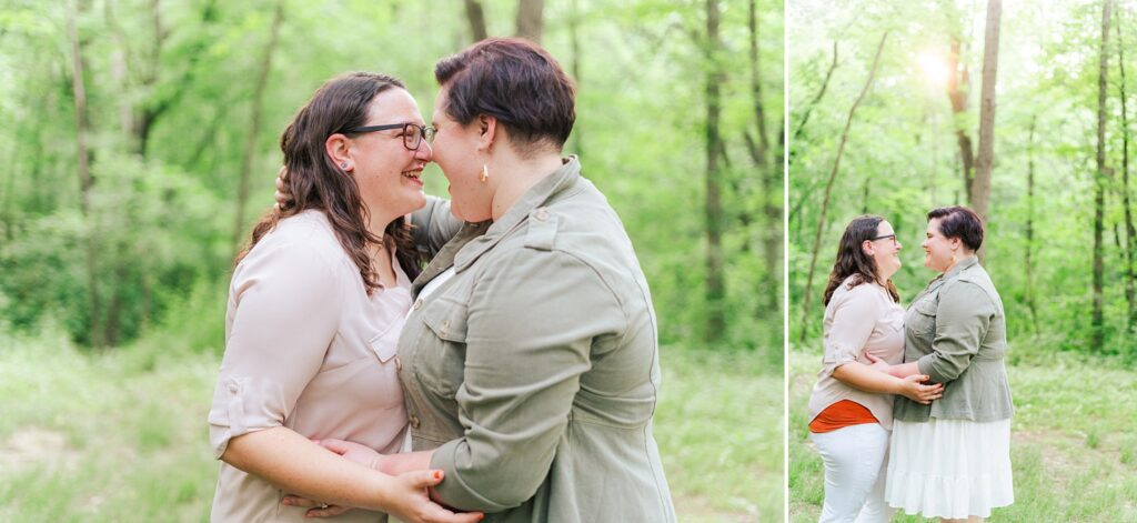 Veronica and Cassie Engagement Session at Northwoods Park Morton, IL.